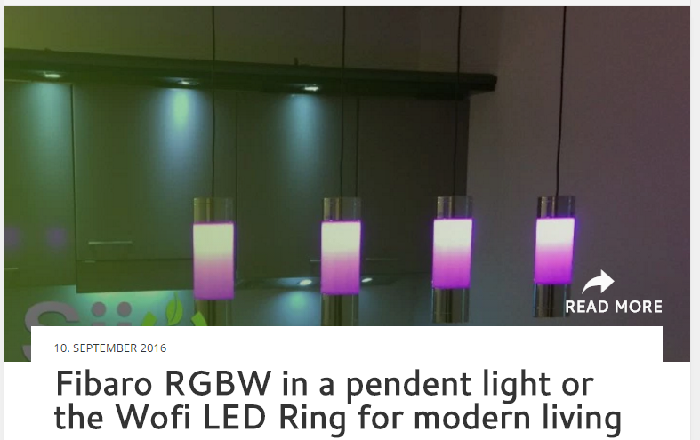 Fibaro RGBW in a pendent light or the Wofi LED Ring for modern living