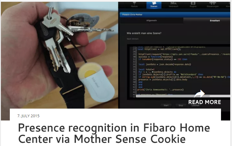 Presence recognition in Fibaro Home Center via Mother Sense Cookie