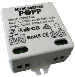 Popp mains adapter power supply 12 VDC POPE004100