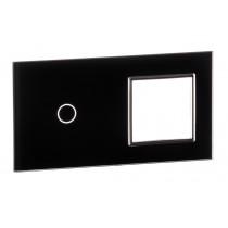 701G-62 sort LIVOLO enkelt + stikkontakt indsats TOUCH glas panel