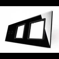 702GG-62 sort LIVOLO dobbelt afbryder TOUCH + dobbelt stikkontakt  glas panel