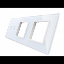 702GG-61 hvid LIVOLO dobbelt afbryder TOUCH + dobbelt stikkontakt  glas panel