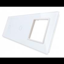 7011G-61 hvid LIVOLO  2x enkelt + stikkontakt indsats TOUCH glas panel
