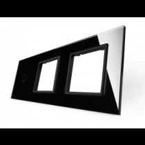 701GG-62 sort LIVOLO enkelt afbryder TOUCH + dobbelt stikkontakt  glas panel