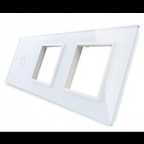 701GG-61 hvid LIVOLO enkelt afbryder TOUCH + dobbelt stikkontakt  glas panel