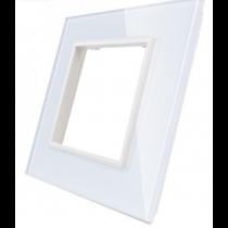 GPF-1-61 Enkelt hvid glass front til LIVOLO stikkontakt
