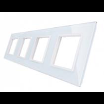 GPF-4-61 Firedobbelt hvid glass front til LIVOLO stikkontakt