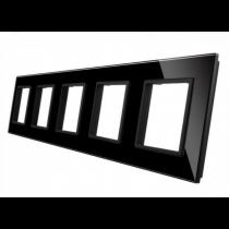 GPF-5-62 Femdobbelt sort glass front til LIVOLO stikkontakt
