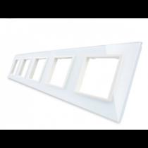 GPF-5-61 Femdobbelt hvid glass front til LIVOLO stikkontakt