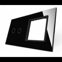 702G-62 sort LIVOLO dobelt afbryder TOUCH + stikkontakt  glas panel
