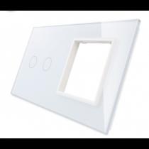 702G-61 hvid LIVOLO dobelt afbryder TOUCH + stikkontakt  glas panel