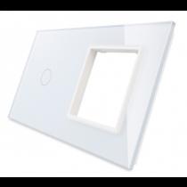 701G-61 hvid LIVOLO enkelt + stikkontakt indsats TOUCH glas panel