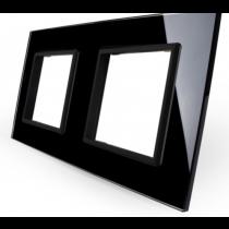 GPF-2-62 Dobbelt sort glass front til LIVOLO stikkontakt