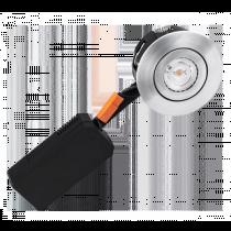 HiluX D5 Indbygningsspot Børstet Alu med indbygget LED pære ( Lav indbygnings højde )
